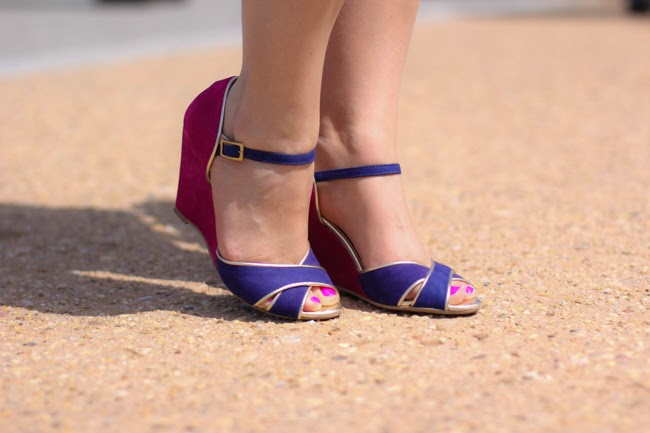pink and blue color blocking sandals from brazil