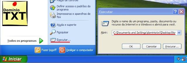 DominioTXT - Acesso pelo menu Executar