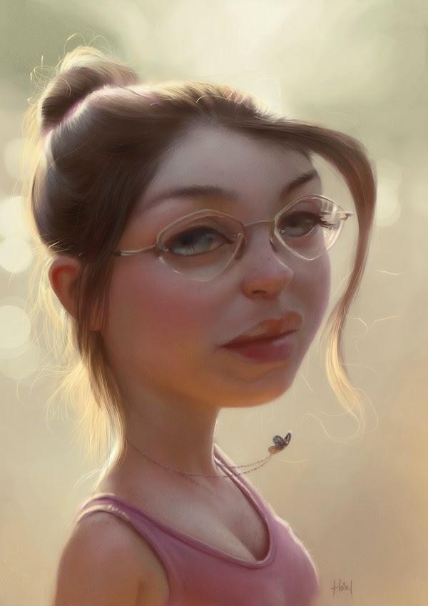 Caricature de Tiago Hoisel représentant une jeune femme à lunette