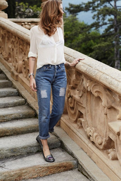 denim and white shirt
