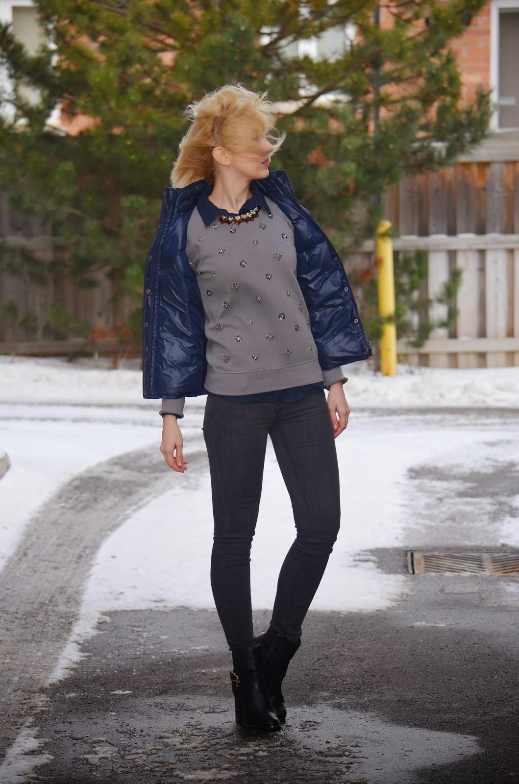 Style, casual, preppy style, J. Crew, J. Crew factory, Asos, Zara, puffer vest, winter style, vest style, preppy, sweatshirt, beaded sweatshirt