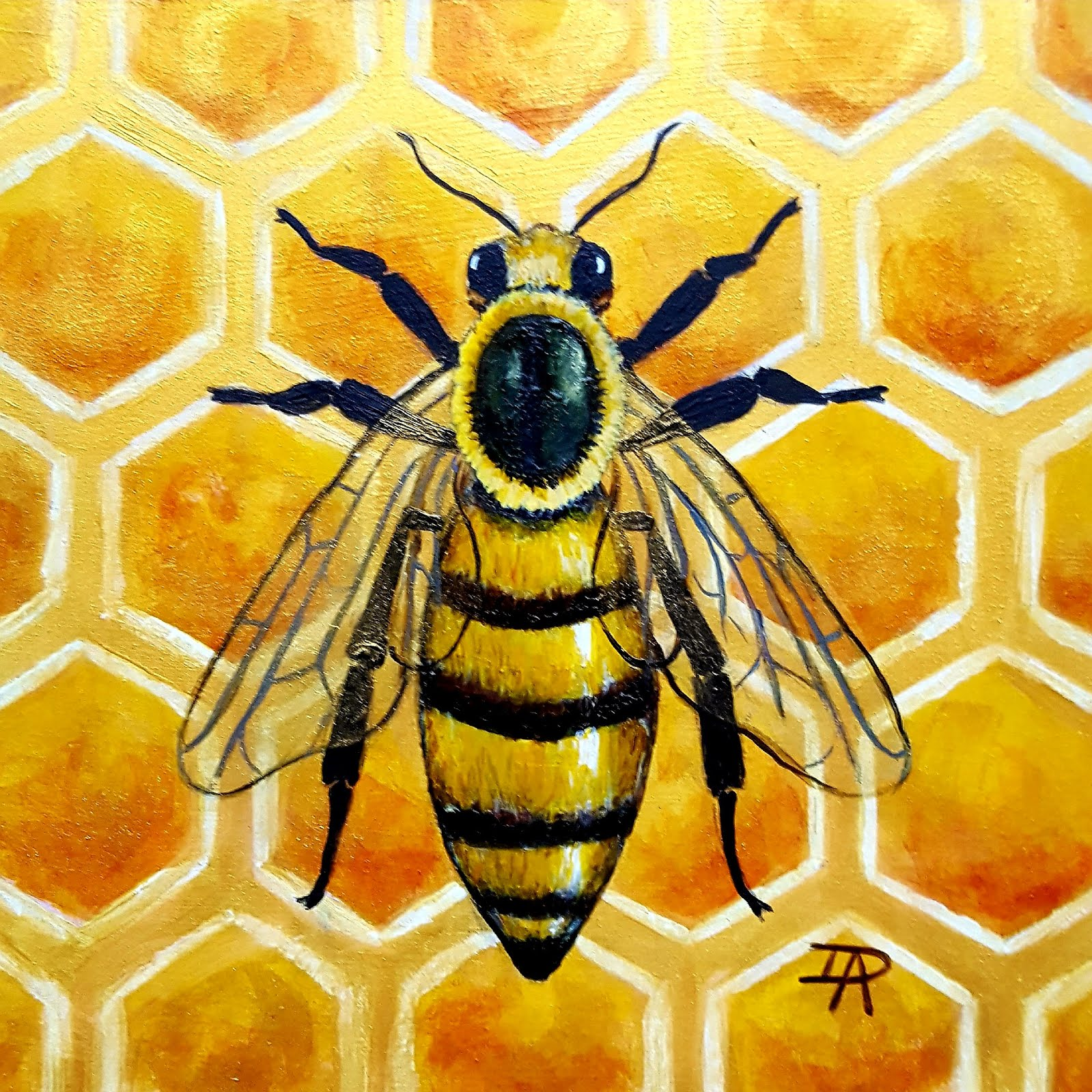 "Bee in Gold Honeycomb (acrylic, 5"" sq)"