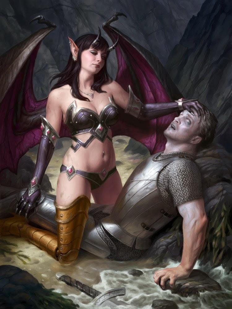 La Empusa griega, seductora criatura, reconocible por que uno de sus pies es de bronce.