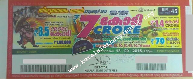 Thiruvonam Bumper 2015 BR-45 Lottery Prize Structure