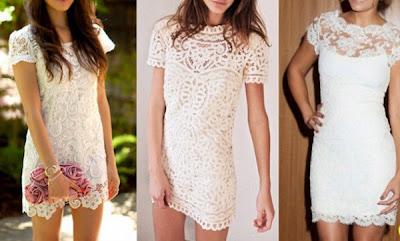 vários modelos vestidos com renda