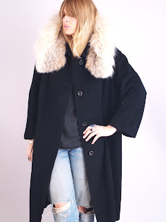 Vintage 1950's black cashmere swing coat with tan colored lynx fur collar.