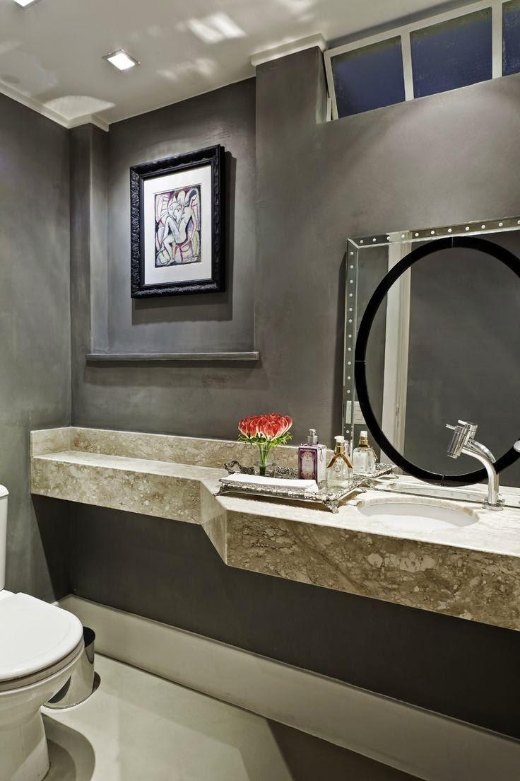 Cubas para banheiros e lavabos!  Jeito de Casa  Blog de Decoração -> Cuba Pia Banheiro Cinza