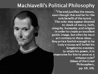 machiavelli do the ends justify the Niccolò machiavelli was born 3rd may 1469 in florence, but little is known from his early years his parents enabled him a good education, by sending him to paolo da ronciglione.