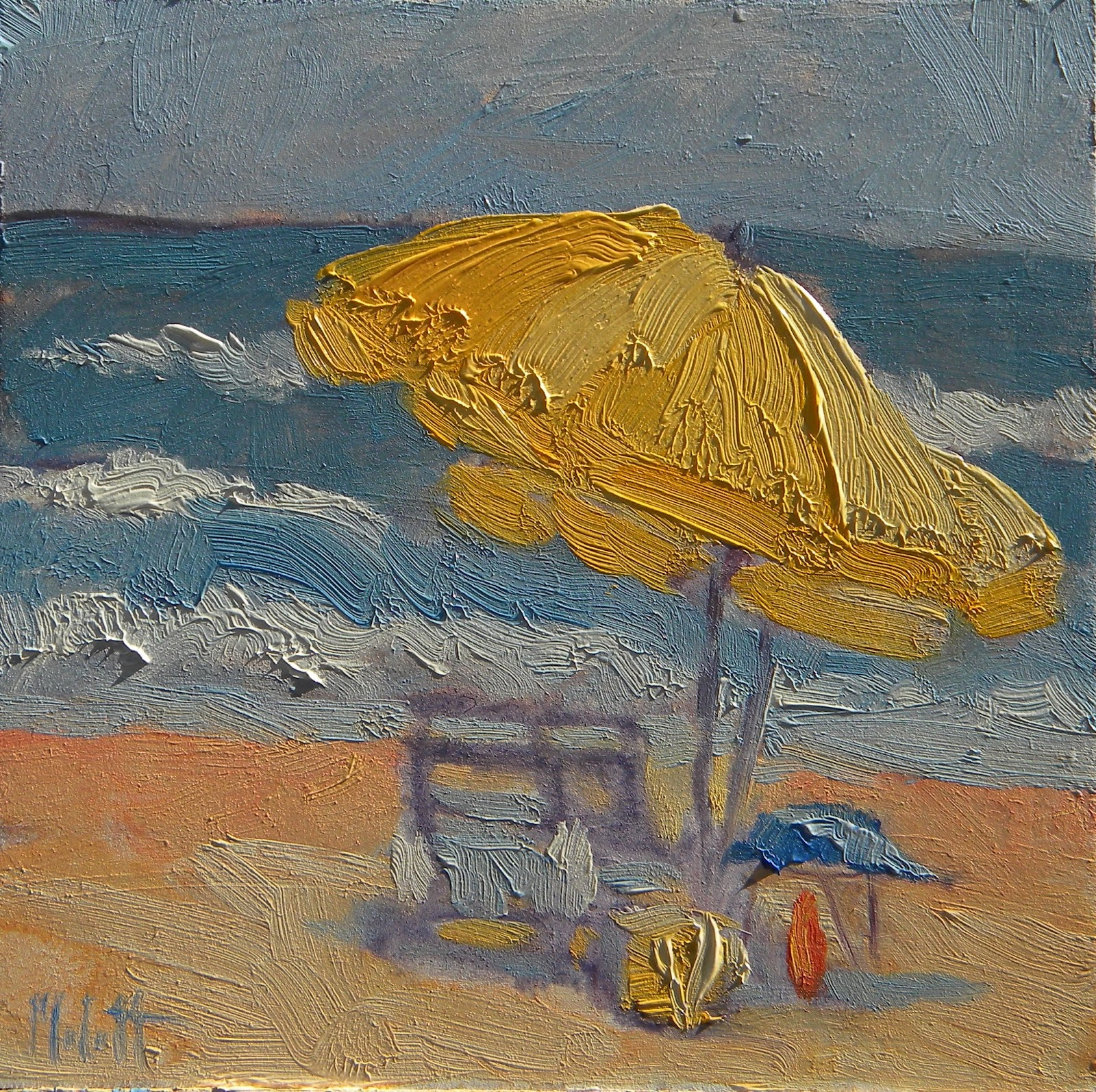 Beach chair with umbrella painting - Heidi Malott Original Paintings Beach Umbrella