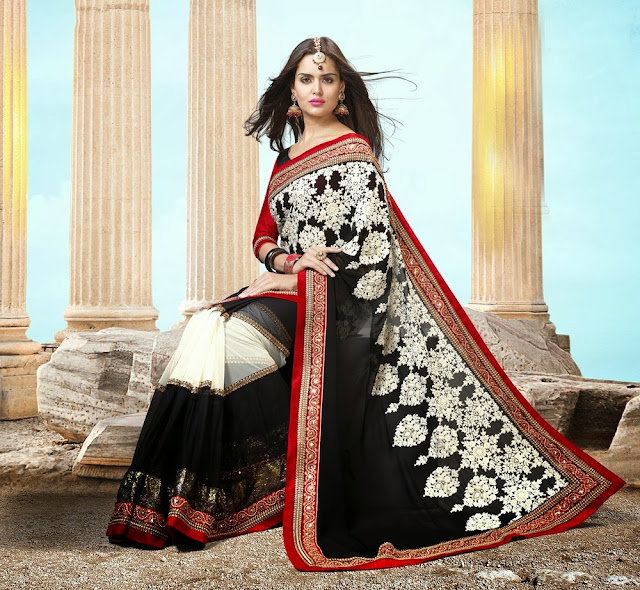 Gorgeous Black & Off White Embroidered Saree