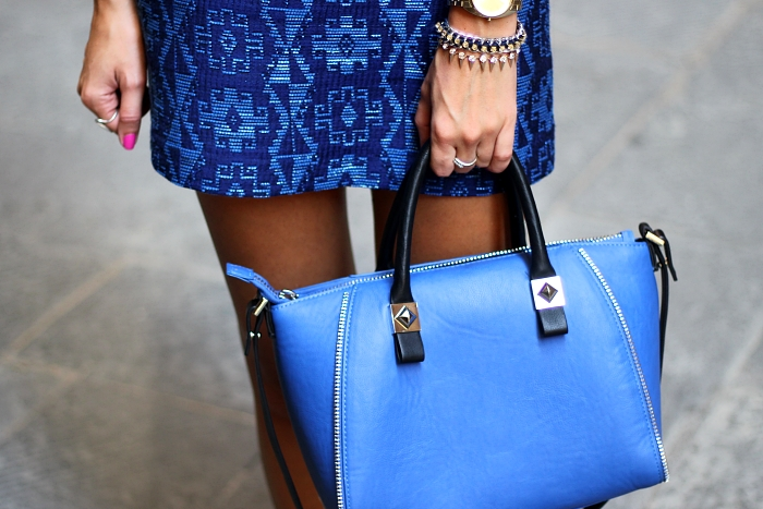 blue Zara printed skirt, Zara bag