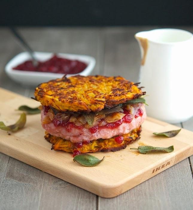 Sweet Potato Latke Turkey Burger (aka Thanksgivukkah Burger)