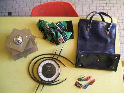 vintage tote bag , vintage barrettes 1960 60s 1950 50s 1970 70s