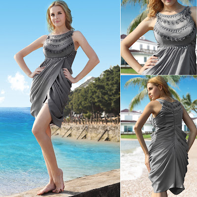 Silver Scoop Short/Mini Silk Stretch Dress