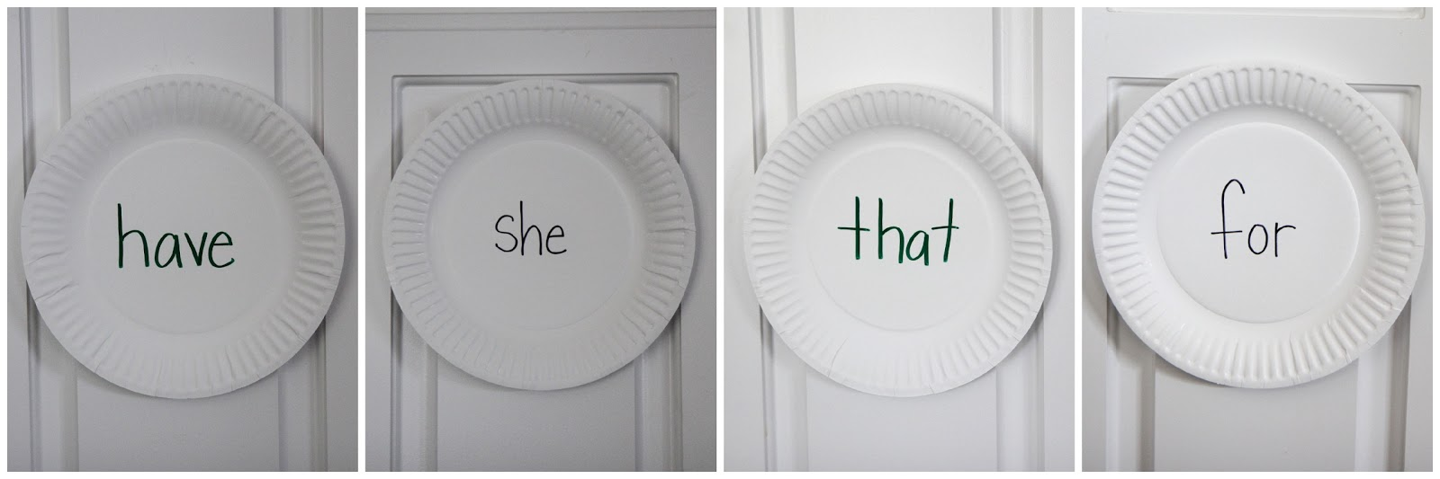 ... which sight words are harder for him to remember and then I write them on paper plates and stick them on our kitchen cupboards using painters tape.  sc 1 st  I Can Teach My Child! & Sight Word Target Practice - I Can Teach My Child!