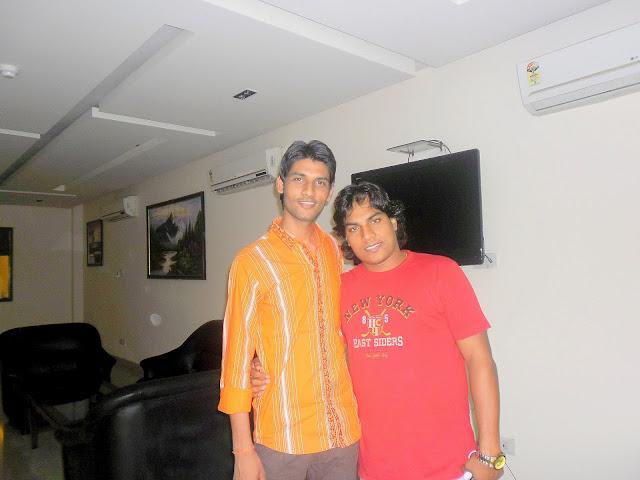 Anshu Dikshant with Bhojpuri Singer Mohan Rathor