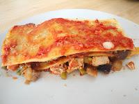 Lasagna de berenjena y pollo