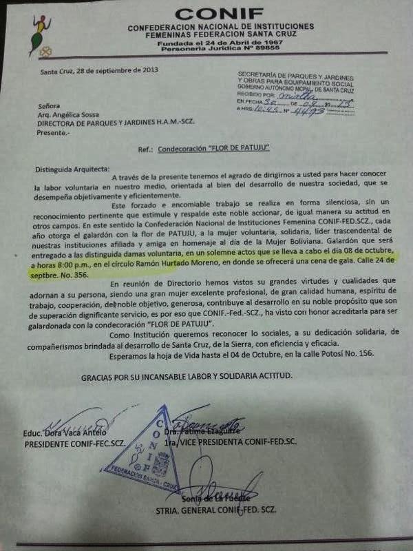 PATUJU DE ORO, OTORGADO POR CONIF