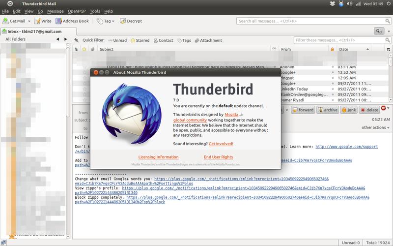 Mozilla Thunderbird 7 di Ubuntu 11.04 Natty Narwhal