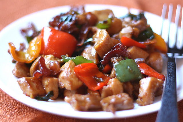 Spicy Chicken and Bacon Stir Fry recipe by Barefeet In The Kitchen
