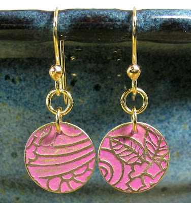 Libellula Jewelry:  Pink patina etched Brass earrings