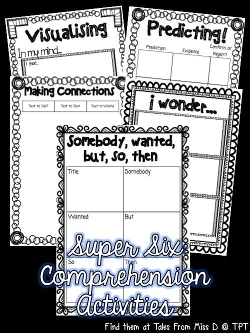 http://www.teacherspayteachers.com/Product/Super-Six-Comprehension-Strategies-Activity-Pack-1259213