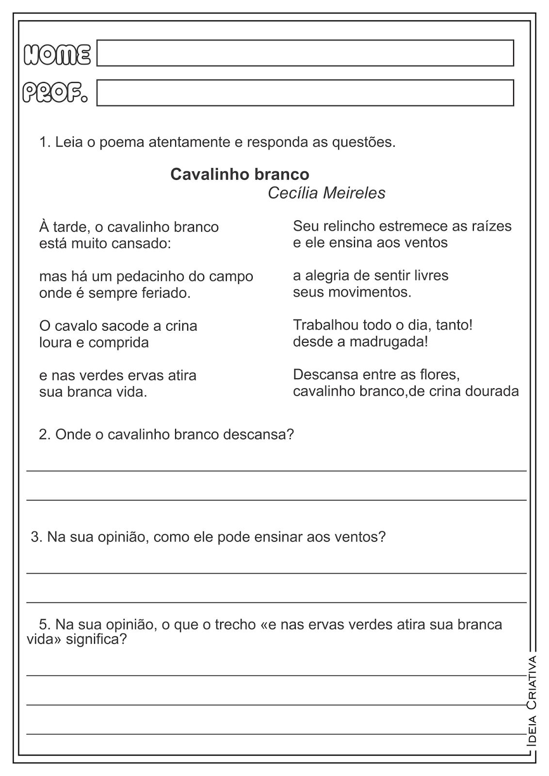 """Atividades Interpretação de Texto Cecília Meireles """"O menino azul"""" e """"Cavalinho branco"""""""