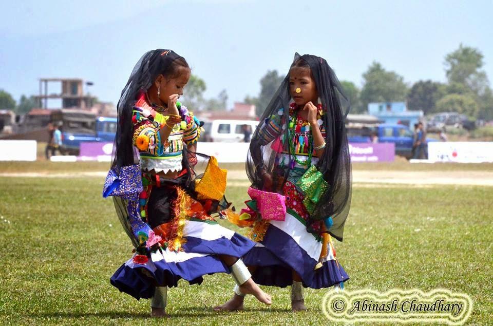 Rana Tharu twins performing cultural dance, Farwest Nepal