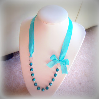 turquoise margarita necklace glass pearls dutch blue ribbon