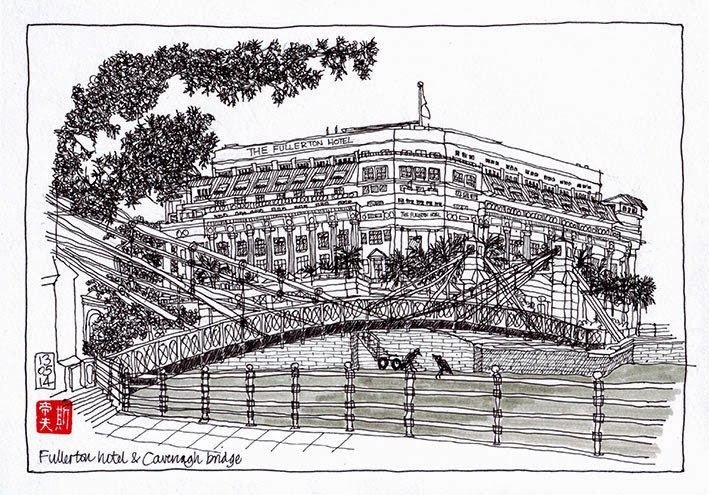 Fullerton hotel and Cavenagh bridge sketch