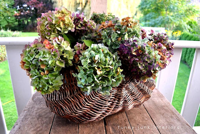 dried hydrangeas in wicker basket Funky Junk Interiors