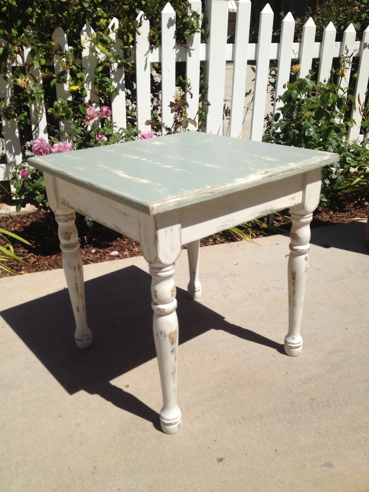Small Distressed Blue And Cream End Table With Wax Coating