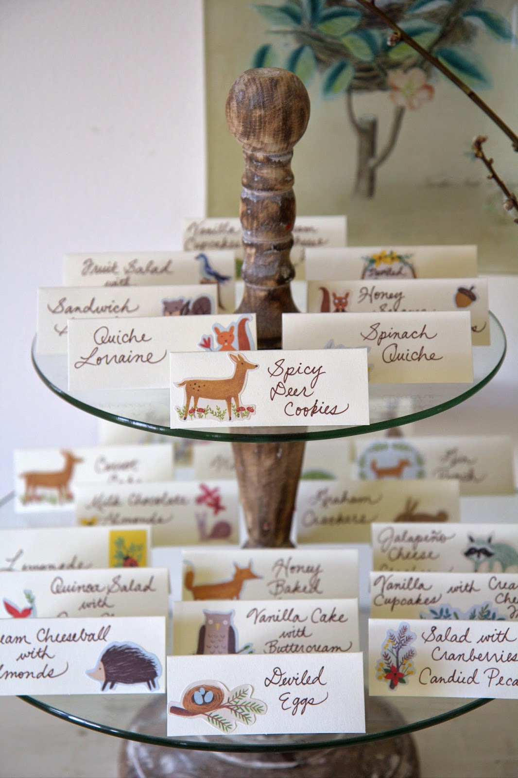 Woodland Party; food place cards with forest stickers and woodland animals: Nora's Nest