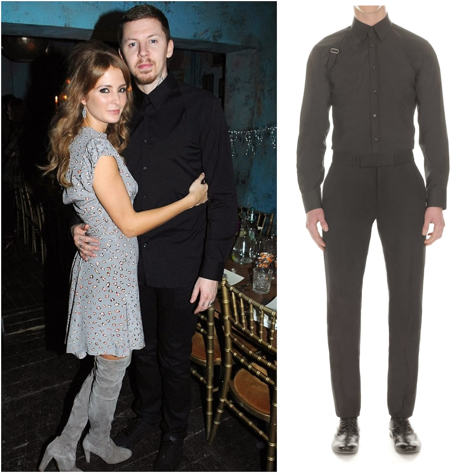 Professor Green in Alexander McQueen harness shirt - 30th Birthday Party