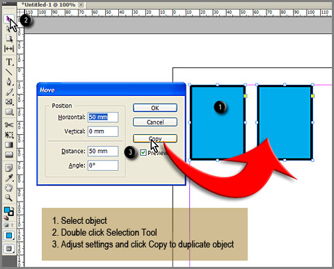 Move and duplicate object in InDesign using Selection Tool