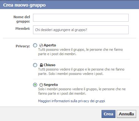 privacy gruppo Facebook segreto