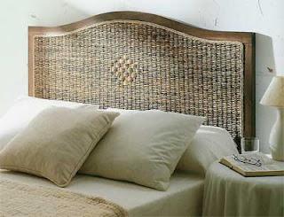 Cabecero dormitorio rattan y madera