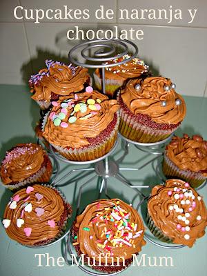 Cupcakes de naranja y chocolate