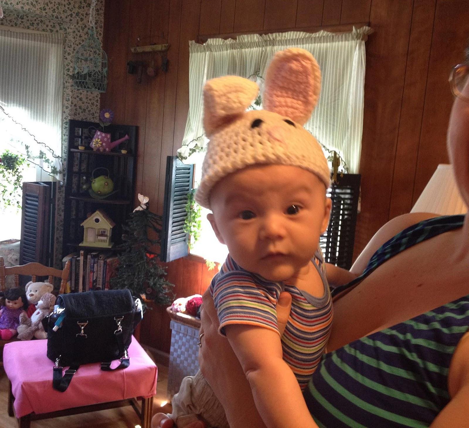 Crochet Baby Bunny Hat worn by Freddy!