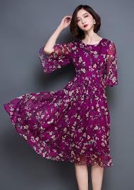 Purple/Dark Blue Half Flare Sleeve Cherry Blossom Sticks Print Chiffon Dress