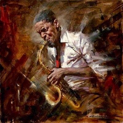 pintura de músico saxofone