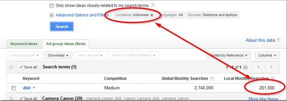cara riset keyword 3 - menentukan lokasi