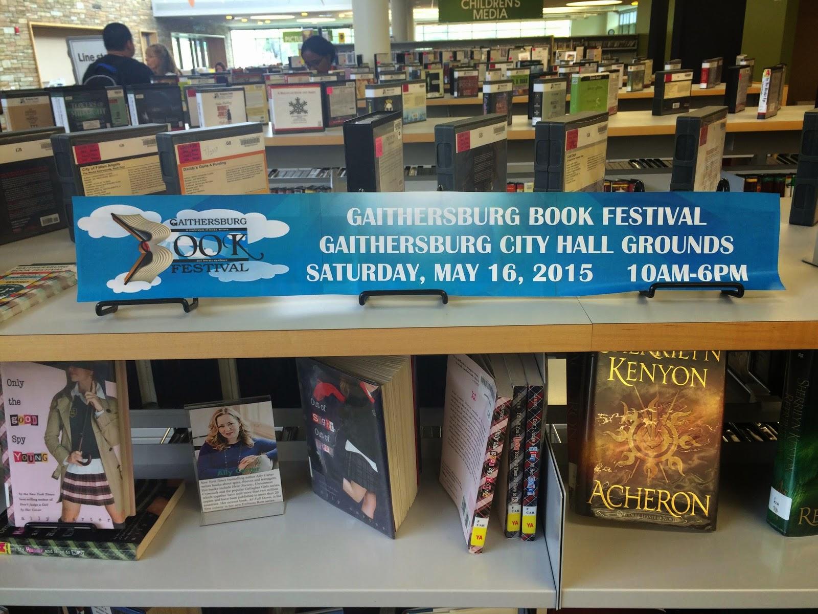 Gaithersburg Book Festival display at Gaithersburg Library