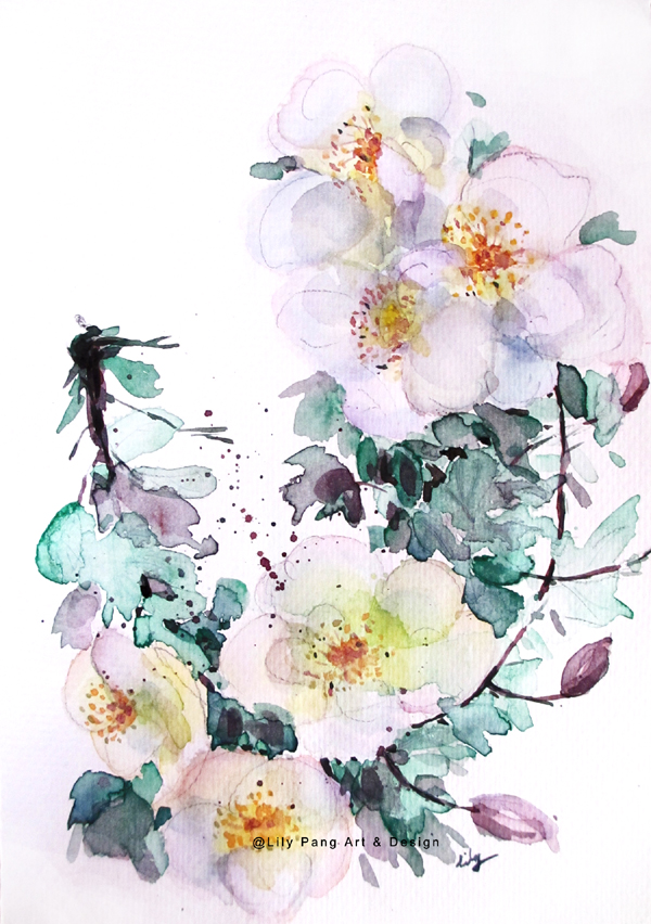 Lily pang and michelle white flowers original watercolor painting white flowers original watercolor painting mightylinksfo