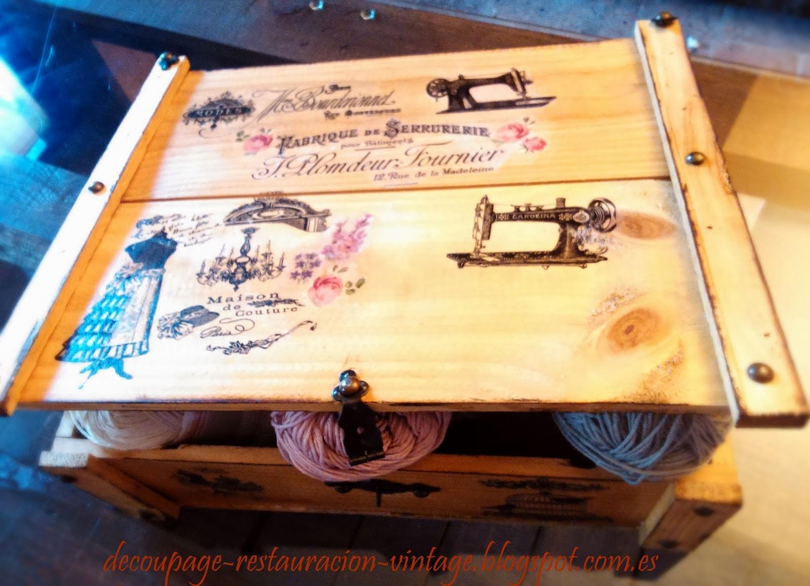 Decoupage transfer y otras t cnicas restauraci n de - Ideas para reciclar cajas de madera ...