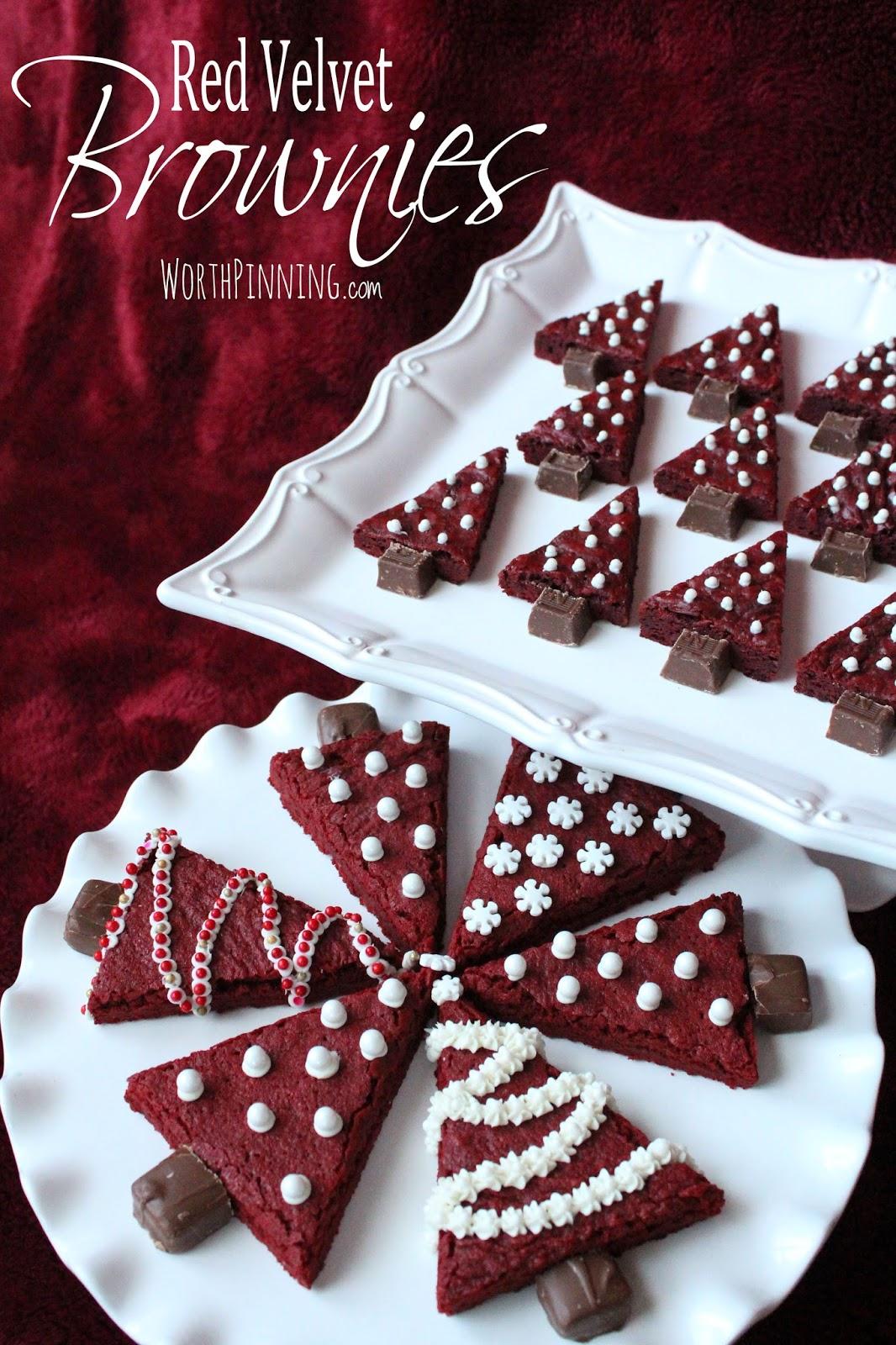 Worth Pinning Christmas Tree Red Velvet Brownies