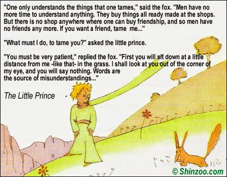 taming the little prince Without taming, the fox says, the prince will be nothing more than a little boy who is just like a hundred thousand other little boys and to the prince, the fox is nothing more than a fox like a hundred thousand other foxes.