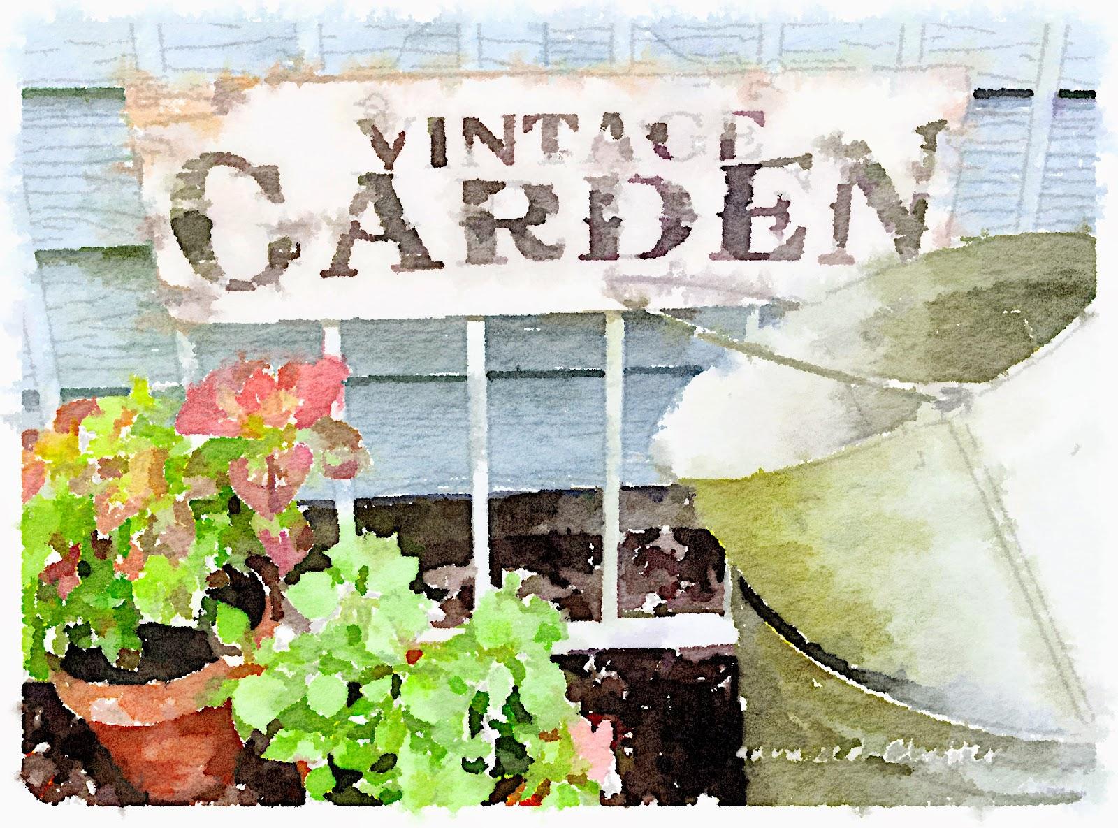 Waterlogue Vintage Garden Sign & Vignette www.organizedclutterqueen.blogspot.com
