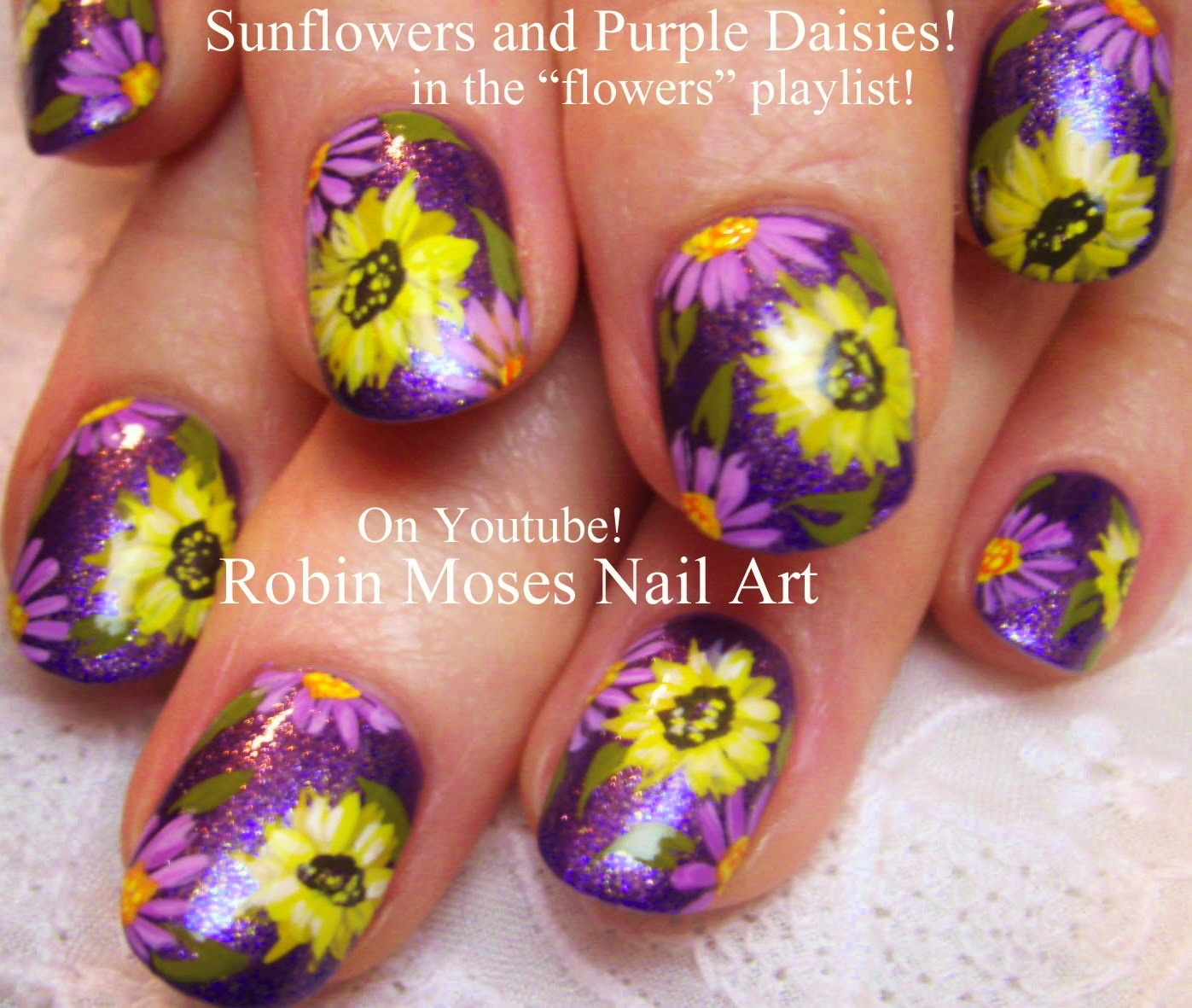 Nail Art By Robin Moses Flower Nails Nail Art Sunflower Nail