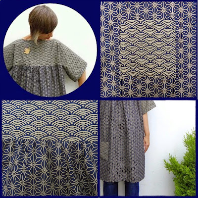 Gather one piece in Japanese indigo cotton